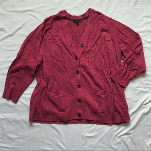 Land's End Pink Cardigan 3x